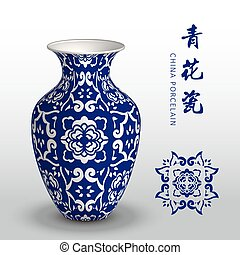 Navy blue China porcelain vase curve cross flower...