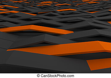 3D rendering of black matte plastic waves with colored...