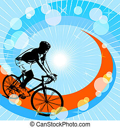 silhouette of cyclist - vector illustration of a silhouette...