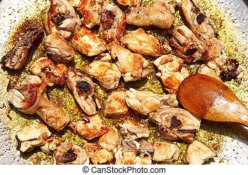 pollo, freír, receta,  paella, españa