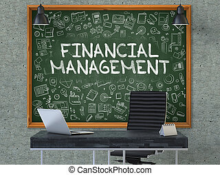 Financial Management on Chalkboard in the Office. 3D. -...