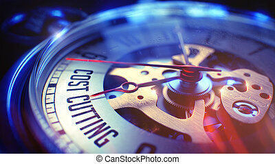 Cost Cutting - Text on Pocket Watch. 3D Render. - Cost...