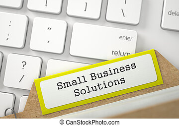 File Card with Inscription Small Business Solutions. 3D.