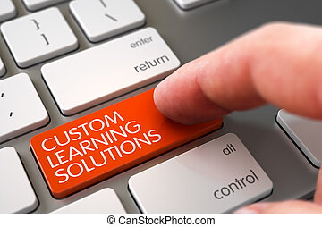 Custom Learning Solutions - Keyboard Key Concept. 3D. - Hand...