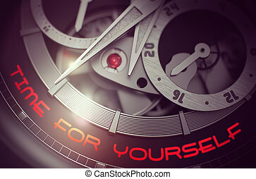Time For Yourself on Old Pocket Watch Mechanism. 3D. - Time...