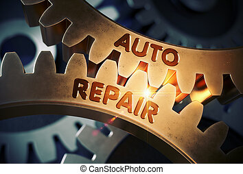 Golden Cog Gears with Auto Repair Concept. 3D Illustration....