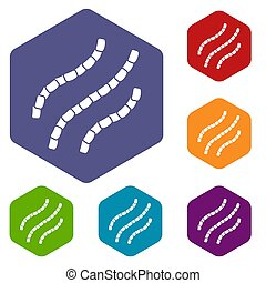 Escherichia coli icons set rhombus in different colors...