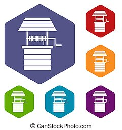 Water well icons set rhombus in different colors isolated on...