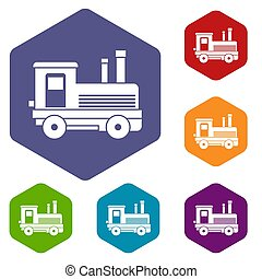 Locomotive icons set rhombus in different colors isolated on...
