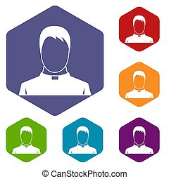Priest icons set rhombus in different colors isolated on...