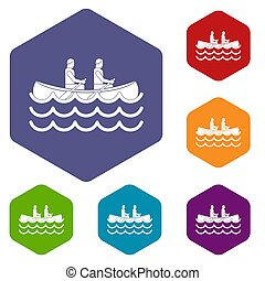 Canoeing icons set rhombus in different colors isolated on...