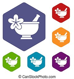 Mortar and pestle pharmacy icons set rhombus in different...