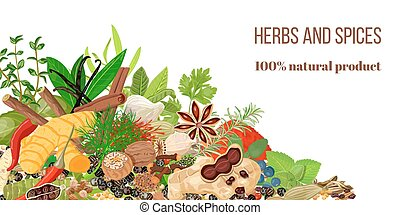 Card with Pile of Realistic popular culinary herbs and...