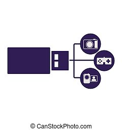 pen drive hosting data center icon image, vecctor...