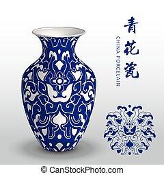 Navy blue China porcelain vase curve spiral flower frame