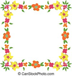 Floral frame with spring flowers
