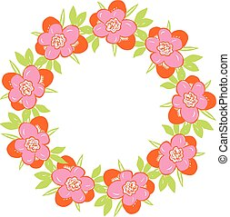 Round floral frame with spring flowers