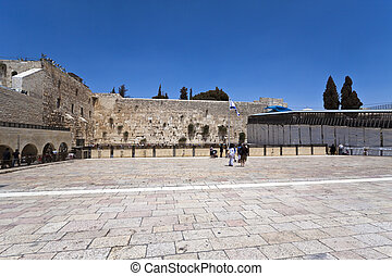 kotel - panoramic view of the western wall in jerusalem