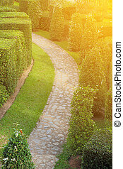 nature path through in the tropical garden - A beautiful...