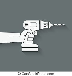 hand with drill. repair concept. vector illustration - eps...