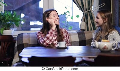 Group of girl friends meeting for coffee and talk - Two...