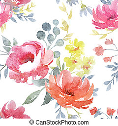 Watercolor floral pattern - Beautiful pattern with nice hand...