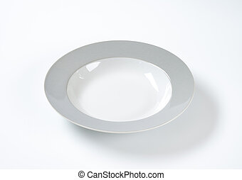 plate with grey rim - Soup plate with wide grey rim