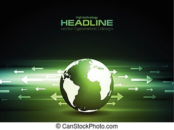Dark green technology background with globe and arrows