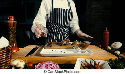 Chef Add Round Red Pepper To Food. Wooden Board