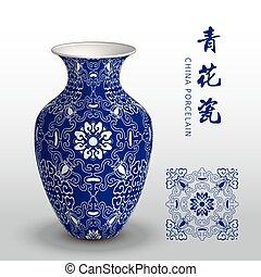 Navy blue China porcelain vase spiral curve frame flower