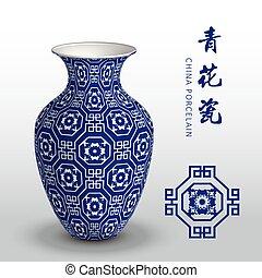 Navy blue China porcelain vase octagon spiral square flower