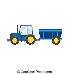 blue tractor with tank for transportation grain icon...