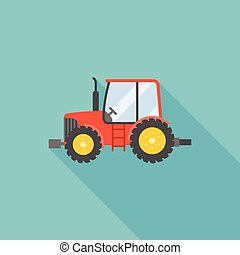 tractor icon, flat design
