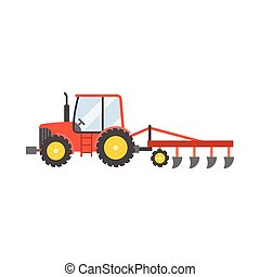 red tractor with plow for planting crops icon isolated on...