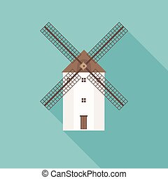 traditional Spain wind mill illustration, flat design with long shadow