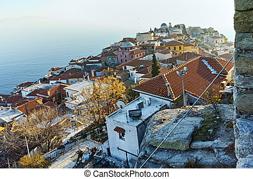 Amazing Panorama to Old town of Kavala, East Macedonia and...