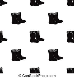 Winter felt boots icon in black style isolated on white background. Russian country pattern stock vector illustration.