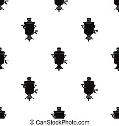 Samovar icon in black style isolated on white background. Russian country pattern stock vector illustration.