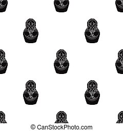 Russian matrioshka icon in black style isolated on white...