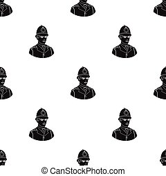 English policeman icon in black style isolated on white background. England country pattern stock vector illustration.