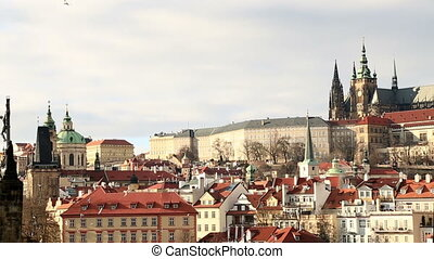 Scenic view of Vltava river and castle of Prague - Panoramic...