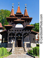 Romanian traditional wood church in Sovata, Transylvania,...