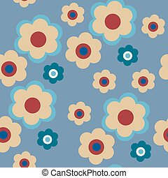 Seamless floral pattern on a blue background - The seamless...