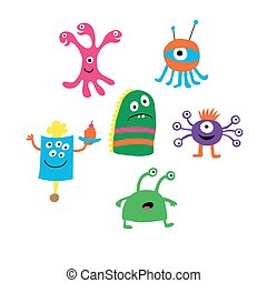 Set of different monsters on a white background