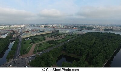 aerial of Saint-Petersburg with view on field of Mars,...