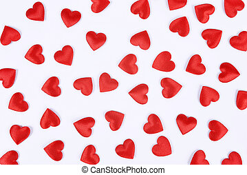 Red hearts on white background.