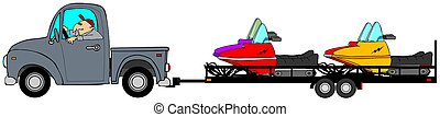 Truck and trailer hauling snowmobiles - Illustration of a...