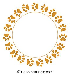 Brown paw prints pet round frame with empty space for your...