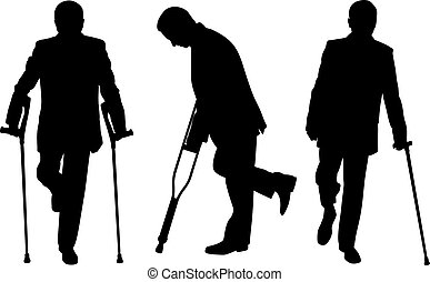 People with crutches isolated on white