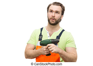 man in overalls with a hammer